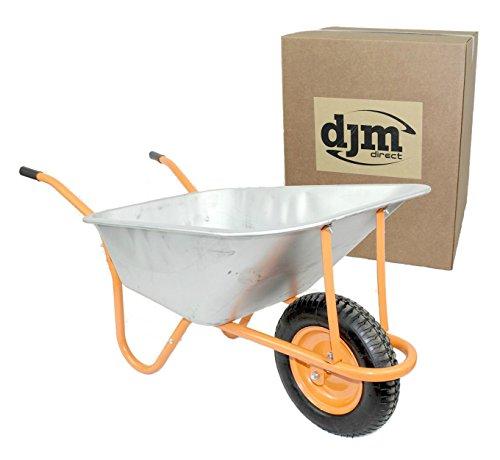 DJM Brouette de jardin en métal robuste avec pneu 90litre/180kg