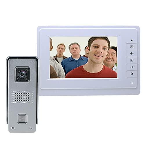 Timbre de puerta con vídeo TFT/LCD de 7 pulgadas, cámara de vigilancia con visión nocturna, monitor de campana, cámara con cable, para hablar y indicadores de luz, 25 tonos de timbre