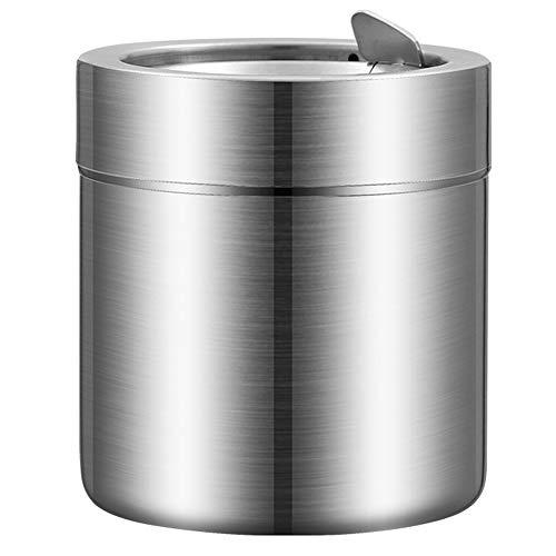 LXB Mini Cubo de Basura de Mesa, Juego de Bote de Basura de Acero Inoxidable Cepillado para encimera, Cubo de Basura de Mesa, cenicero de Coche, cenicero con Tapa a Prueba de Viento