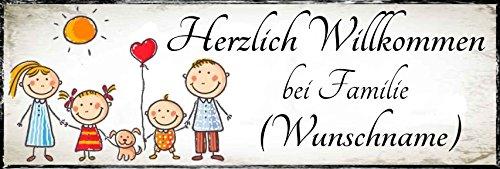 Creativ Deluxe Herzlich willkommen bei Familie (Wunschname) - Geschenkedeko Türschild-hochglänzend und Kratzfest glänzend Vintage Schild Dekoschild Wandschild Holzschild Geschenk