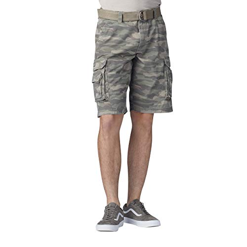 Lee Men's Dungarees New Belted Wyoming Cargo Short, Fatigue camo, 36