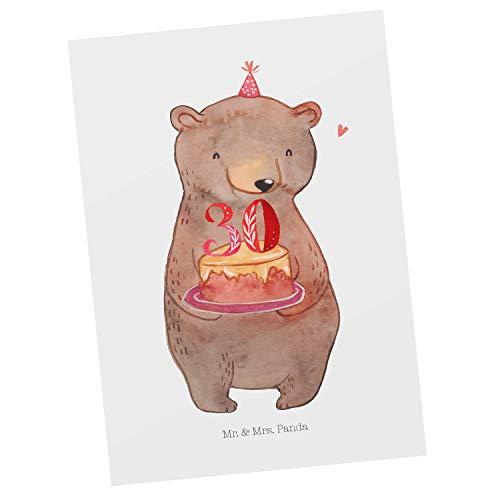 Mr. & Mrs. Panda invito, Cartolina Postale, Cartolina Postale Torta all'orso 30 Anni - Colore Bianco