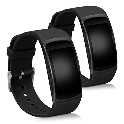 kwmobile 対応: Samsung Gear Fit2 / Gear Fit 2 Pro 交換バンド - 2x 替えベルト TPU シリコン バンド 黒色/黒色