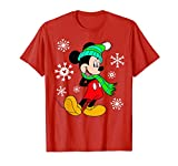 Disney Mickey Mouse Holiday Snowflakes Portrait Christmas T-Shirt