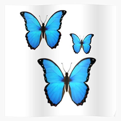 nastygal Blue Butterflies Pack Emoji Sticker Butterfly Das eindrucksvollste und stilvollste Poster für Innendekoration, das derzeit erhältlich ist