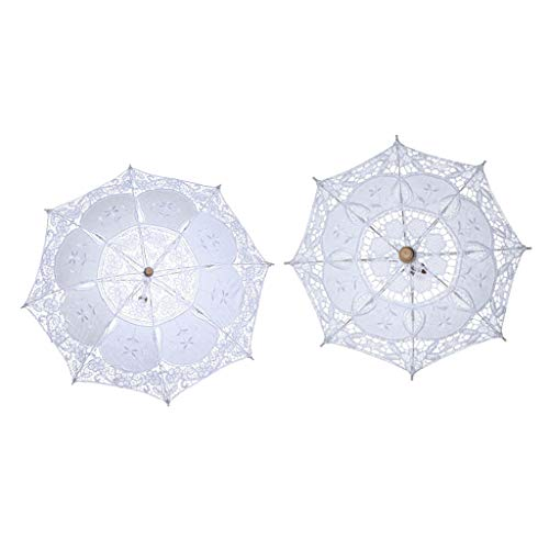 Colcolo 2 Piezas de Moda Bordado Parasol Fotografía Nupcial Vintage Paraguas Accesorios