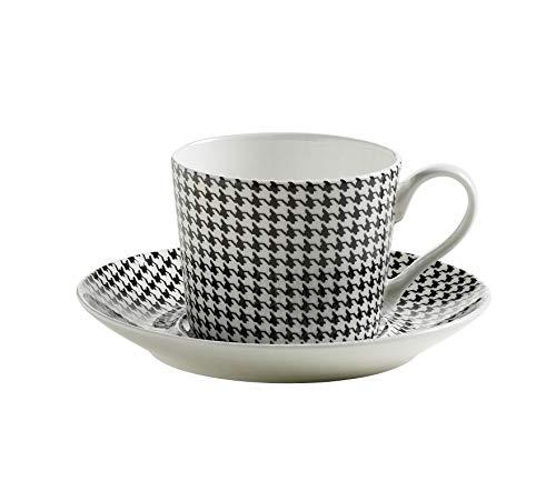Maxwell & Williams S84004 Art Deco Tasse mit Untertasse, Kaffeetasse, Hahnentritt, in Geschenkbox, Porzellan