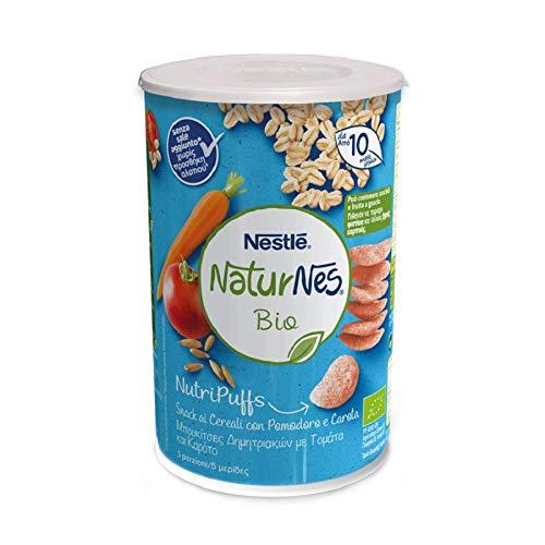Nestlé Naturnes Nutripuffs Snack ai Cereali Pomodoro e Carota da 10 Mesi, 5 barattoli da 35 g