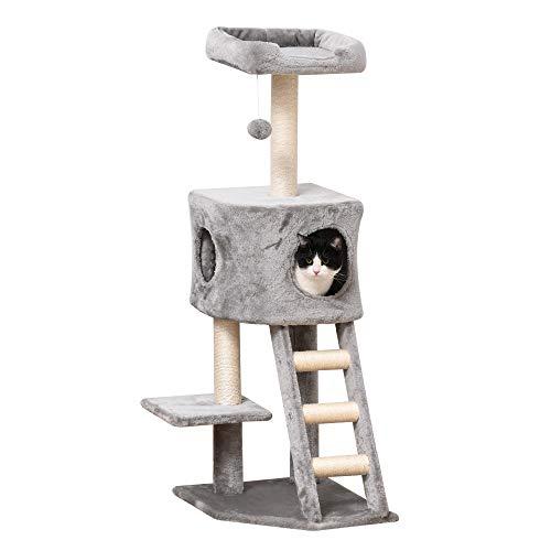 Pawhut Kratzbaum mit Katzenhöhle Leiter Katzenbaum Kletterbaum für Katzen Mehrstufiges Multiaktivitätszentrum E1 MDF Sisal Hellgrau 60 x 48 x 122 cm