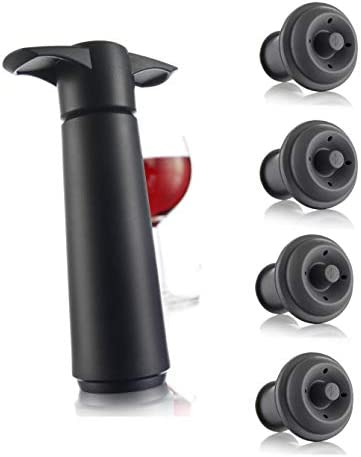 Vacu Vin Wine Saver Pump with 2 x Vacuum Bottle Stoppers Black Black Pump 4 Stoppers product image