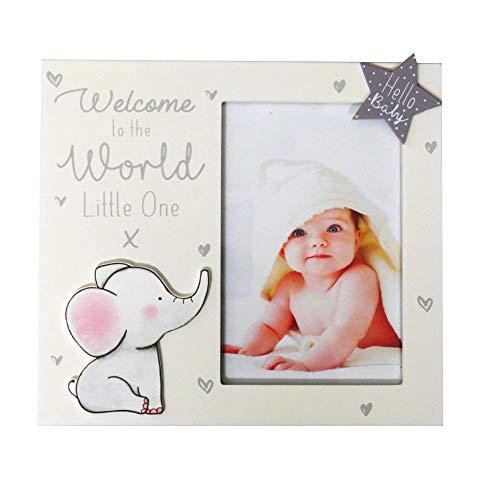 "Baby-Bilderrahmen aus Holz, Aufschrift ""First Steps Welcome to The World"""