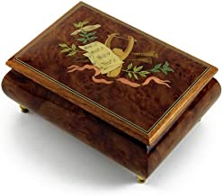 Gorgeous Lyre and Sheet Music with Ribbon Musical Jewelry Box - Over 400 Song Choices - If I were A Rich Man