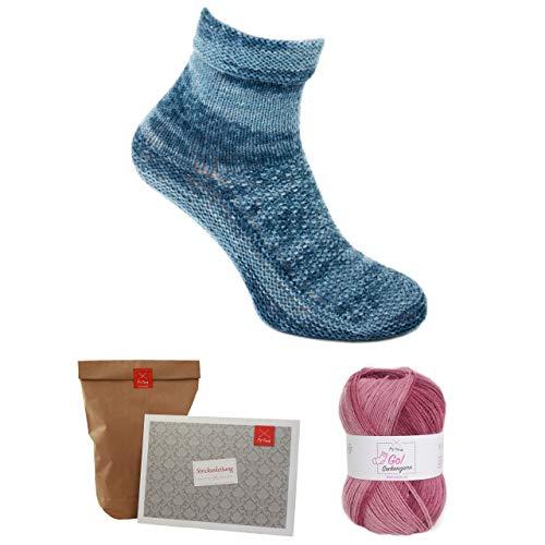 MyOma Socken Stricken Set -Oma Elfriedes Hüttensocken rot- - Sockenwolle zweifarbig - Strickset 1 Knäuel Sockenwolle – Strick-Set Socken + Strickanleitung und GRATIS Label - Sockenwolle 4fädig