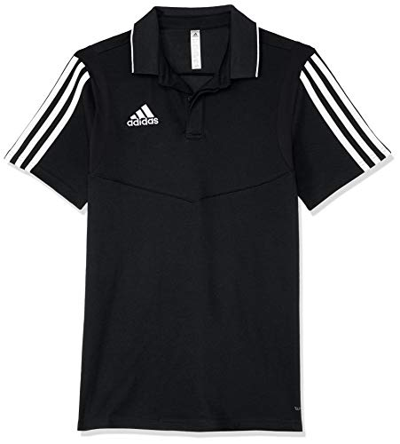 adidas TIRO19 COY Polo Shirt, Black/White, 11-12 Years