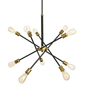 SEOL-Light Sputnik 10 Lights Vintage Chandelier Hanging Ceiling Large Bright Pendant Light Fixtures Black/Gold Brushed for Dining Room,Foyer,Entryway;600W