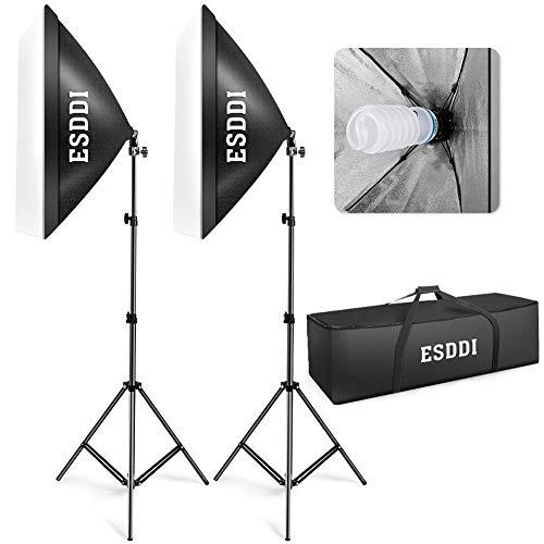 ESDDI Softbox Light Kit Studio Lighting Fotografia con 2 Bombilla de Foto 800W, 2 Ventana de luz 50x70cm, 2 Trípodes, 1 Bolsa de Transporte
