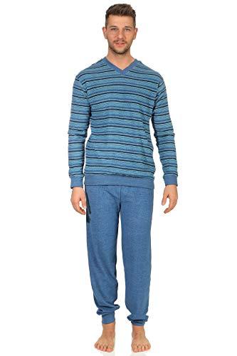 Herren Frottee Schlafanzug mit Bündchen, Pyjama in toller Streifenoptik - 202 101 13 774, Größe2:48, Farbe:Jeans-Melange