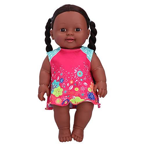 Puppe, afrikanisches Schwarz 3 Farbe Optional lebensechte exquisite Kinderpuppenspielzeug, schön für Babykinder(Q12-011 rose pink blue contrast skirt)