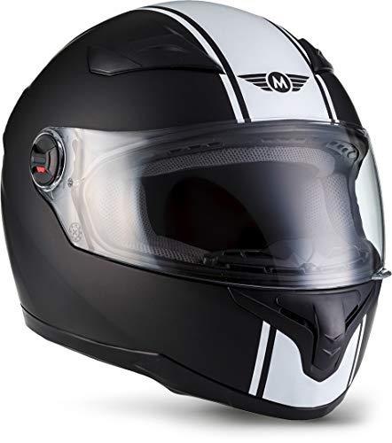 MOTO X86 Racing Matt Black · Urban Sport Fullface-Helmet Urbano Moto motocicleta Scooter Casco Integrale Cruiser · ECE certificado · visera incluido · incluyendo bolsa de casco · Blanco · L (59-60cm)