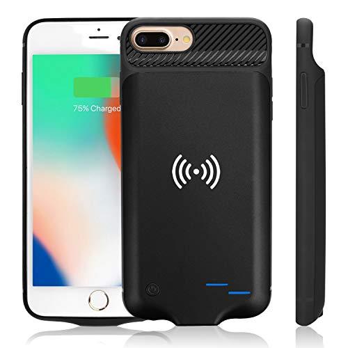 WUEOO Qi Akku Hülle für iPhone 6 Plus/6SPlus/7Plus/8 Plus, 5000mAh Tragbare Drahtlos Ladebatterie Zusatzakku Externe Handyhülle Batterie Wiederaufladbare Schutzhülle Power Bank Akku Case (5,5 Zoll)