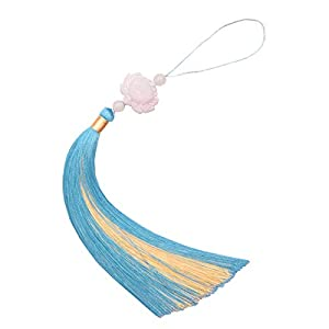 2pcs Dainty Lotus Flower 16cm Long Ice Silk Tassel Hanging Ornament for Car Window Feng Shui Home Decoration with Round Crystal Ball – Red/Green/Blue/Pink