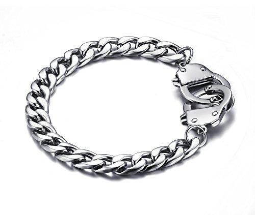 VNOX 17mm Damen Herren Edelstahl Kubanische Gliederkette SM Handschellen Liebesarmband, 20.5cm Länge, Geburtstagsgeschenk