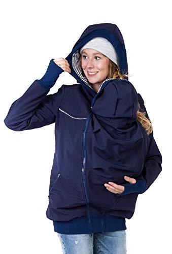 Viva la Mama Jacke für Baby Hintentragen Rückentrage Vorn und Hinten 4in1 Jacke Softshell Trageposition Rücken Einsatz - AVENTURIS Marineblau - XL