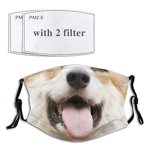 Arlumi Dog Face Mask Cute Puppy Dog Smile with Filter Pocket Washable Face Bandanas Balaclava Breathable Print Reusable Fabric Masks for Men Women