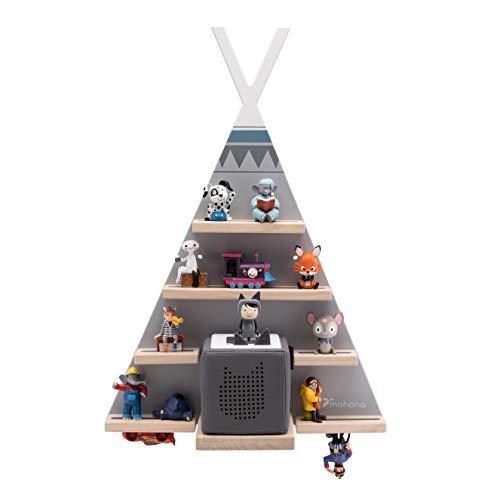 mahona Toniebox - Set de estantería de tonie con diseño de tienda de campaña Tipi - La estantería Toniebox con espacio para hasta 35 de tus figuras de tono favoritas y tu caja de carga Toniebox