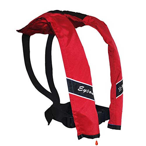 Eyson Slim Inflatable Life Jacket Life Vest PFD Adult Manual for Adults (Red)