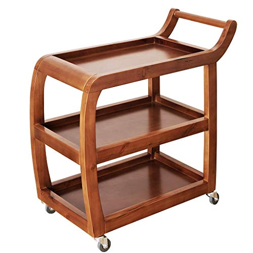 weiwei Serving trolley Kitchen trolley Restaurant tea bar trolley Multifunctional storage trolley - 3-tier solid wood trolley Suitable for private and business use