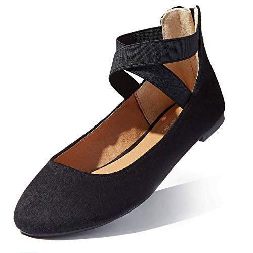 Black Round Ballet Flats for Women Womans Suede Shoes Shoe Ballet Ankle Strap Elastic Spring Summer Hole Shoes Slip On Thick Soled Flats Round Toe Slip-on Black,sv,11