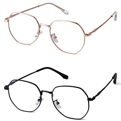 Blaulicht-blockierende Brille, sechseckig, Brillenrahmen, Anti-Blaustrahlen-Brille, (Mattschwarz + Rotgold, 2 Stück), Large
