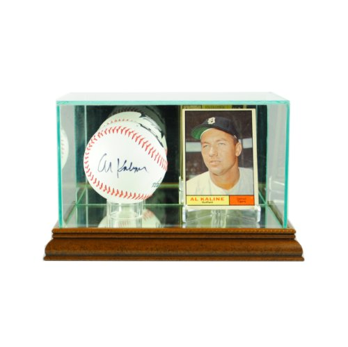 Perfect Cases MLB Card and Baseball Glass Display Case, Walnut