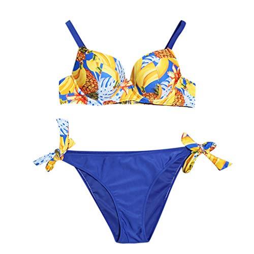 iYmitz Damen Bikini Zweiteiliger Mode Blatt Drucken Bandage Bikini Set Badeanzug Brasilianische Beachwear Strandkleidung Bademode Bikinihose Badeanzug Sexy