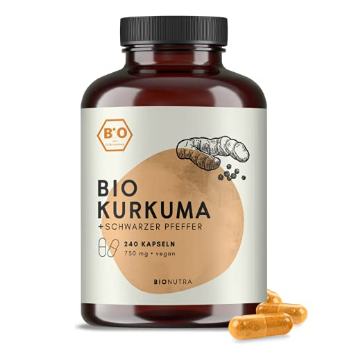 BIONUTRA® Cápsulas de cúrcuma orgánica con pimienta negra (240 x 750 mg), producción alemana, envase a granel, alta dosificación, vegano, materias primas orgánicas sin aditivos