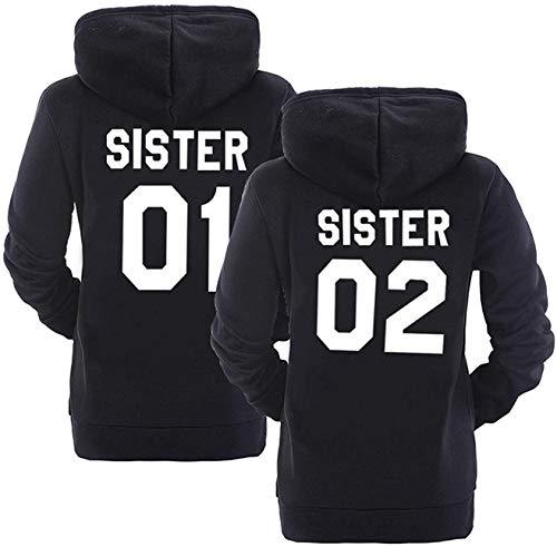 Best Friends Damen Hoodie Sister Pullover Für Zwei Mädchen Beste Freunde Kapuzenpullover (Sister 01, Schwarz S)
