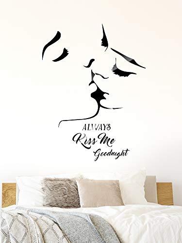 3D Murali da Parete Bacio e Decalcomanie Adesivi Always Kiss Me Goodnight per Sfondo Divano Camera da Letto Soggiorno Sfondo di Parete TV Decorazioni Fai da Te