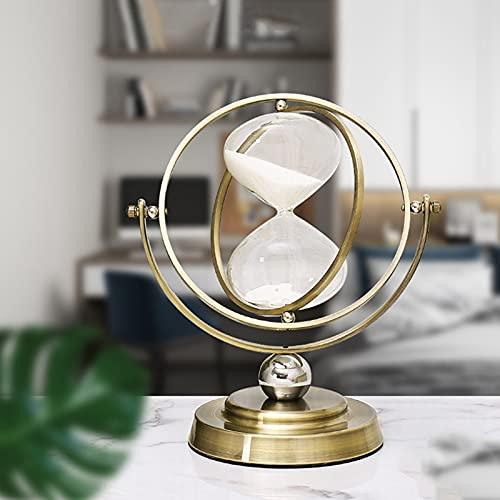 Reloj de arena de 30 minutos de reloj de arena giratorio, reloj de arena de metal, temporizador de arena para decoración del hogar vintage