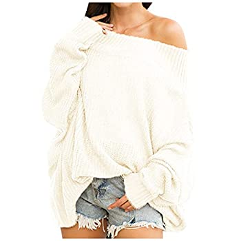 Off Shoulder Sweater Dress for Women Batwing Sleeve Ribbed Shirt Loose Pullover Tops Casual Long Sleeve Bodycon White
