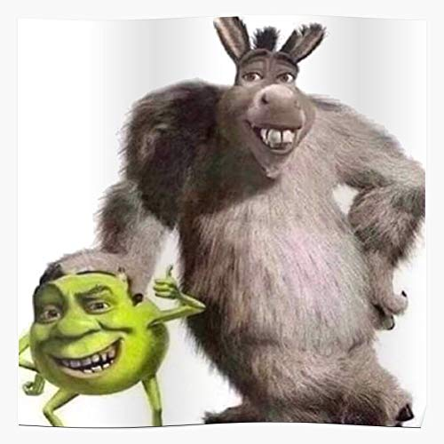 Donkey And Wazowski Mike Shrek Shitpost Fear Meme God Regalo para la decoración del hogar Wall Art Print Poster 11.7 x 16.5 inch