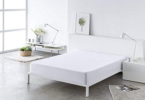 (Blanco 150) Sabana bajera ajustable, elástica 100% algodón de verano. Cama 150 x 190 - 200 cm + 25 cm. Fácil lavado, planchado y duradera.