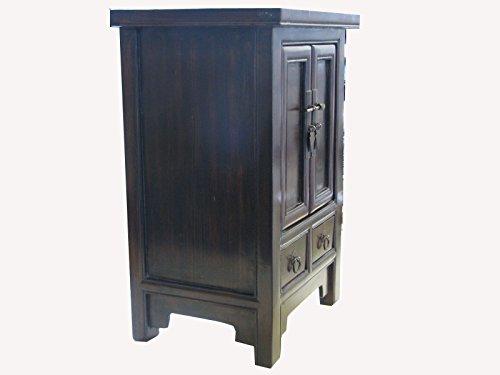 OPIUM OUTLET - Cajonera china, pintada a mano, estilo vintage, estilo asiático, colonial, oriental, marrón oscuro