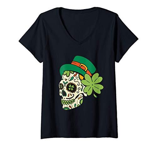 Mujer San patricio calavera de azcar gracioso da de san patricio Camiseta Cuello V