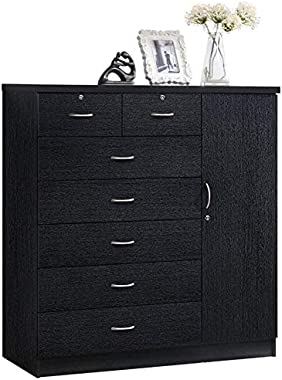 Pemberly Row Tall 7 Drawer Chest with 2 Locking Drawers and Garment Rod or Extra Storage in Black