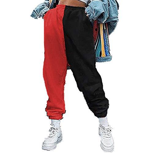 Pantalones sueltos casuales de las señoras de la pierna ancha pantalones de chándal de cintura alta pantalones de harén de ropa pantalones