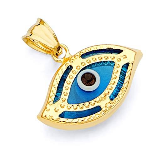 14k REAL Yellow Gold Evil Eye Hamsa Eye Charm Pendant