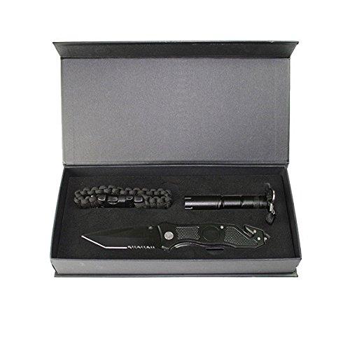 g8ds Tactical Messer-Set Black Taschenmesser, Taschenlampe, Paracord Armband Outdoor Festival