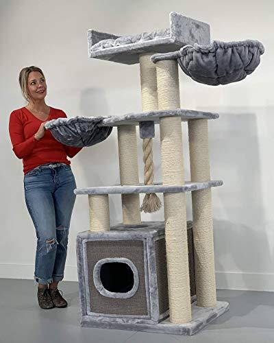 RHRQuality kratzbaum Grosse Katzen stabil XXL Cat Relax Plus Hell Grau katzenkratzbaum für Maine Coon große katzenbaum schwere Katze kletterbaum kratzmöbel Dicker stamm