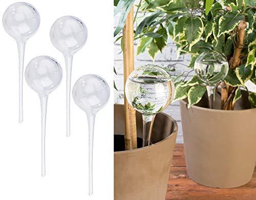 Royal Gardineer Bewässerungskugel: 4er-Set Gießfrei-Bewässerungs-Kugeln aus Glas, transparent, Ø 6 cm (Bewässerungskugel Glas)